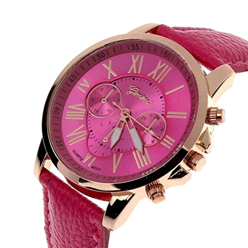 Zolimx Neu Mode Damen Roemisch Ziffern Faux Leder Analog Quartz Armbanduhr Hot Pink