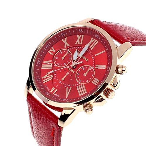Zolimx Neu Mode Damen Roemisch Ziffern Faux Leder Analog Quartz Armbanduhr Rot