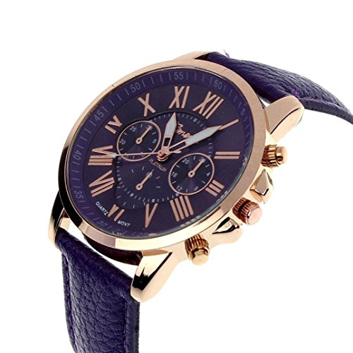 Zolimx Neu Mode Damen Roemisch Ziffern Faux Leder Analog Quartz Armbanduhr Lila