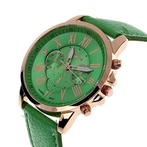 Zolimx Neu Mode Damen Roemisch Ziffern Faux Leder Analog Quartz Armbanduhr Gruen