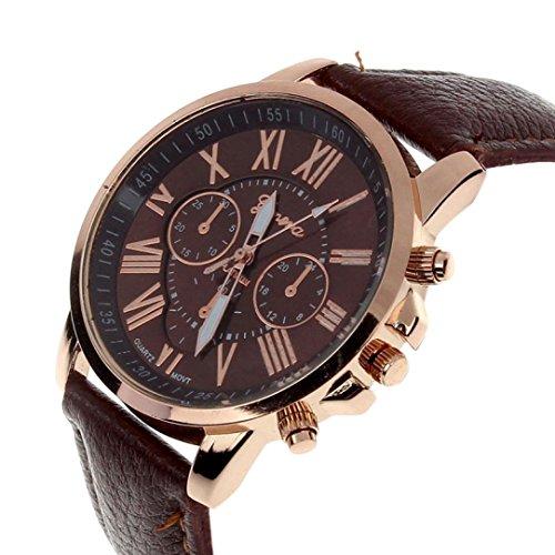 Zolimx Neu Mode Damen Roemisch Ziffern Faux Leder Analog Quartz Armbanduhr Braun