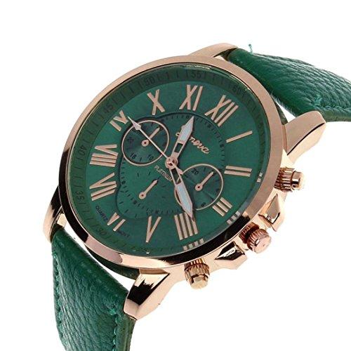 Zolimx Neu Mode Damen Roemisch Ziffern Faux Leder Analog Quartz Armbanduhr Dunkelgruen