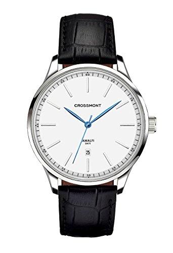 Crossmont Amalfi Analog Quarz mit Weisses Zifferblatt Analoganzeige Kalenderanzeige und Schwarzes Lederband CW0110405
