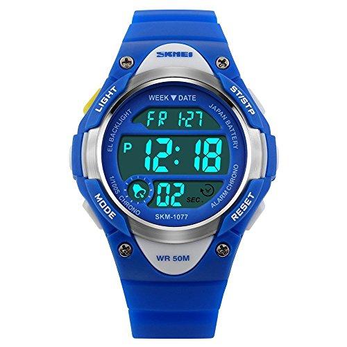 watchpl Outdoor Sports Kids Jungen Maedchen LED Digital Alarm Wasserdicht Armbanduhr Blau