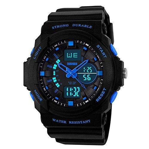 watchpl Multi Funktion Digital LED Quarz Armbanduhr wasserabweisend Elektronische Sport Uhren Kind Blau Kleine
