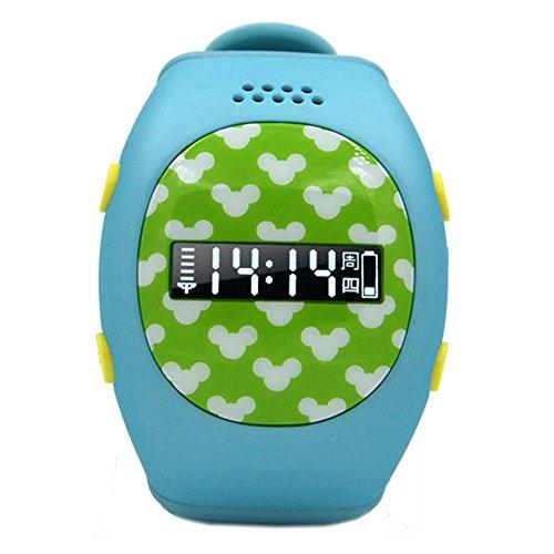 Leopard Shop RWATCH R9 Kinder GPS Smartwatch Familie Zahlen Sicher Bereich Zweiwege Kommunikation Telefon MTK6260 SOS Taste hellblau
