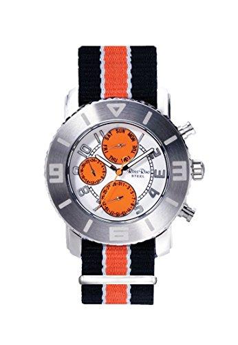 Ross Rino Chamaeleon Sternbild Unisex Quarzuhr mit Orange Zifferblatt Analog Anzeige und Orange Nylon Armband
