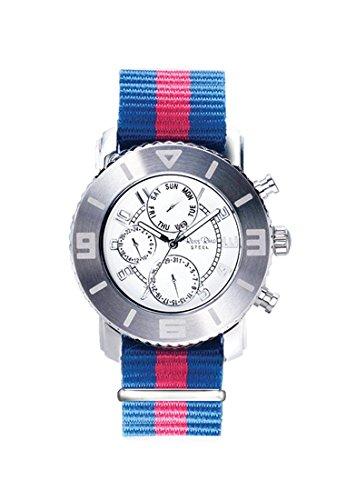 Ross Rino Chamaeleon Sternbild Unisex Quarzuhr mit creme Zifferblatt Analog Anzeige und Blau Nylon Armband