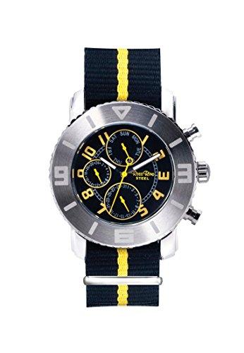 Ross Rino Chamaeleon Sternbild Unisex Quarzuhr mit Gelb Zifferblatt Analog Anzeige und Gelb Nylon Armband