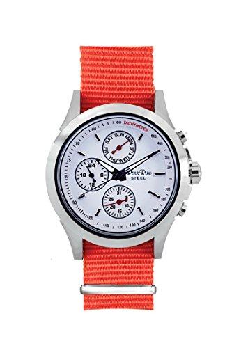 Ross Rino Chamaeleon Sternbild Unisex Quarzuhr mit weissem Zifferblatt Analog Anzeige und Orange Nylon Armband