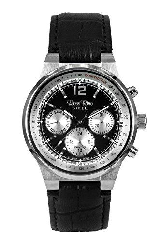 Ross Rino Kepheus Unisex Quarzuhr mit schwarzem Zifferblatt Analog Anzeige und schwarz Leder Armband