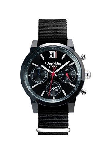 Ross Rino Aquila Unisex Quarzuhr mit schwarzem Zifferblatt Analog Anzeige und schwarz Nylon Armband