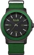 FCUK Herren-Quarzuhr mit schwarzem Zifferblatt Analog-Anzeige und Gruen Nylon Gurt fc1148N