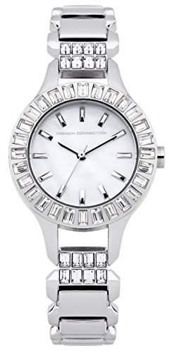 French Connection Damen Quarzuhr mit Mutter von Pearl Zifferblatt Analog-Anzeige und Silber Edelstahl Armband fc1155sm