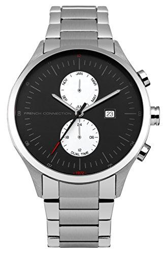 French Connection Herren Quarzuhr mit schwarzem Zifferblatt Analog Anzeige und Silber Edelstahl Armband fc1266bsm