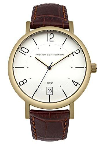 French Connection Herren Quarz Uhr mit weissem Zifferblatt Analog Anzeige und Bronze Lederband fc1268tg