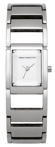 French Connection Damen Quarzuhr mit Silber Zifferblatt Analog Anzeige und Silber Edelstahl Armband FC1100S
