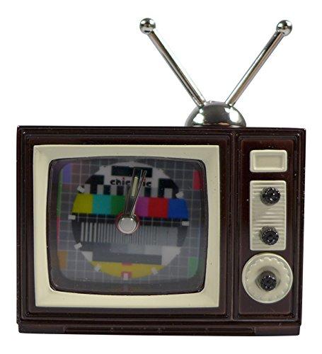 Miniatur Uhr Fernseher TV ca 7x6x2 5 cm Vintage Uhr Sammleruhren mit hochwertiger Geschenkbox