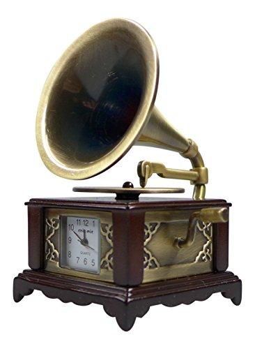 Miniatur Uhr Grammophon ca 8x5x4 5 cm Vintage Uhr Sammleruhren mit hochwertiger Geschenkbox