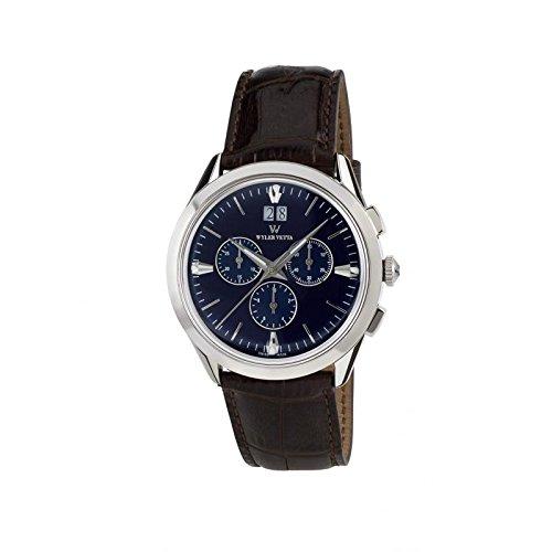 Uhr Wyler Zugspitze Herren wv0024 Quarz Batterie Stahl Quandrante blau Armband Leder