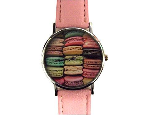 Damen Uhr Macarons suesse pinkfarbene Armbanduhr