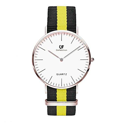 QF Time Armbanduhr QF VlI Silber Nylon Nato Strap Schwarz Neongelb
