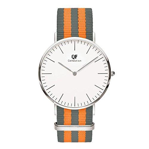 QF Time Armbanduhr QF IV Silber Nylon Nato Strap Grau Orange