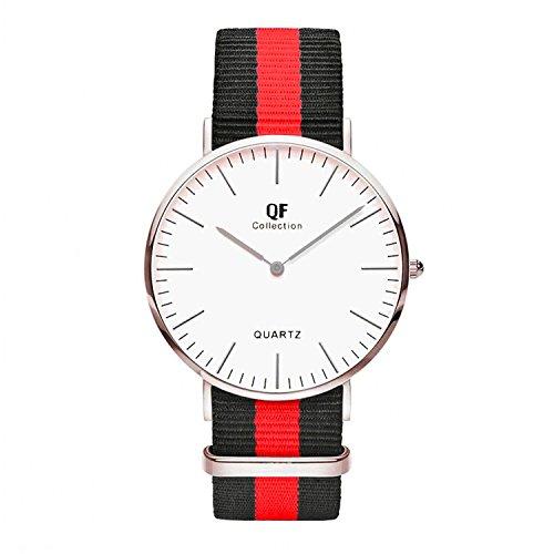 QF Time Armbanduhr QF I Silber Nylon Nato Strap Schwarz Rot