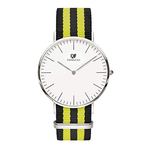 QF Time Armbanduhr QF V Silber Nylon Nato Strap Schwarz Gelb