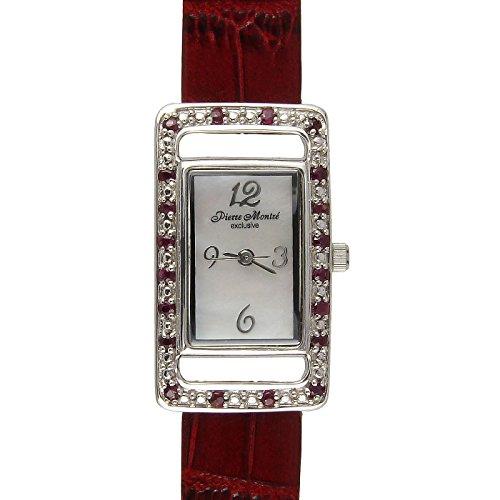 Pierre Montre Damen Frau Armbanduhr DAU Uhr Rotes Echt Lederarmband Rot Umfasst mit Echte Rubine Rubin
