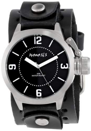 Nemesis Herren B032K Signature Stainless Steel Round Black Dial Leather Cuff Uhr