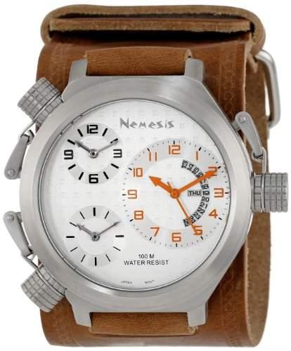Nemesis Herren BIN080S Signature 3-TimeZone Silver Brown Leather Band zu sehen