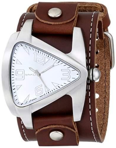 Nemesis Herren BLBB011S Oversized Kollektion Brown Triangle-Lederband Uhren