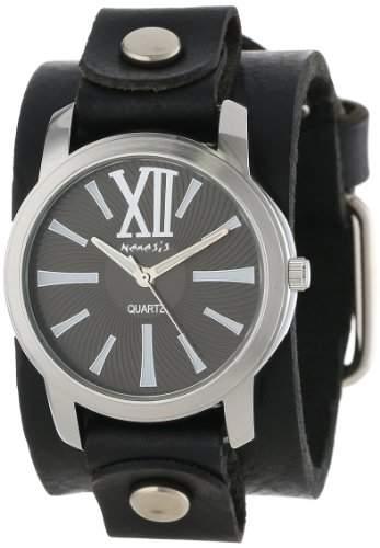 Nemesis Damen GB065KW Exclusive Collection Roman Black Leather Cuff Uhr