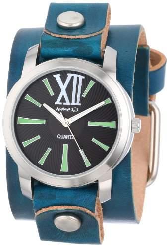Nemesis Damen GVGB065KG Exclusive Collection Roman Gruene Lederarmband Uhr