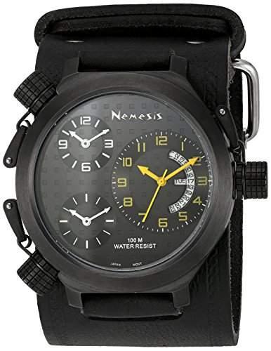 Nemesis Herren KIN080KY Signature 3-TimeZone Yellow Black Leather Band zu sehen