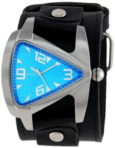 Nemesis Herren LBB011L Oversized Kollektion Blau TearDrop Triangle-Lederband Uhren