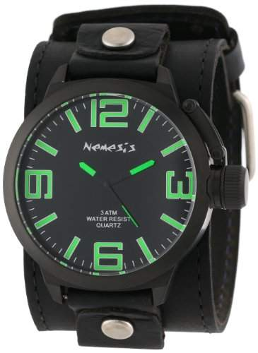 Nemesis Herren LBB061G Signature IP-Beschichtung Teardrop Black Dial Leather Cuff Uhr