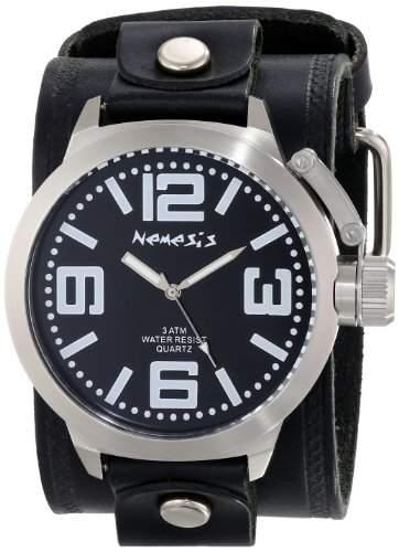 Nemesis Herren LHST022K Oversized Sammlung Dunkeln stehen Black Leather Cuff-Band zu sehen
