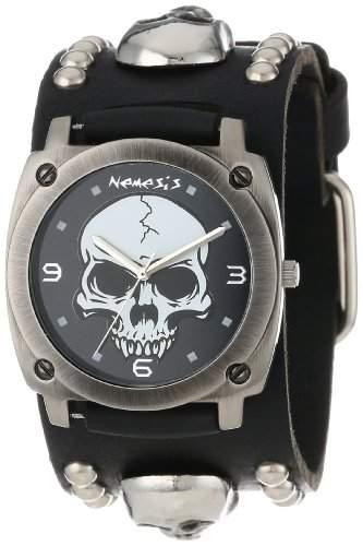 Nemesis Herren MSK926K Punk Rock Kollektion Black Heavy Duty Schaedel-Lederband Uhren