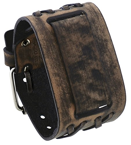 Nemesis dxb k 24 mm Lug Breite breit Cris Kreuz Distressed Braun Leder Manschette Armbanduhr Band