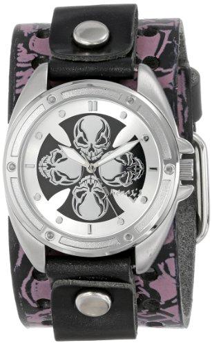 Nemesis Damen PMSK909S Punk Rock Compass Schaedel Lederband Uhren