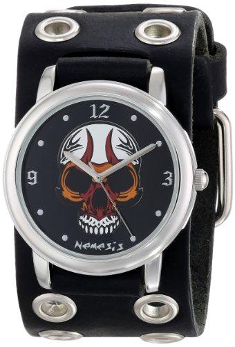 Nemesis Herren EB924K Punk Rock Kollektion Black zorniger Schaedel Lederband Uhren
