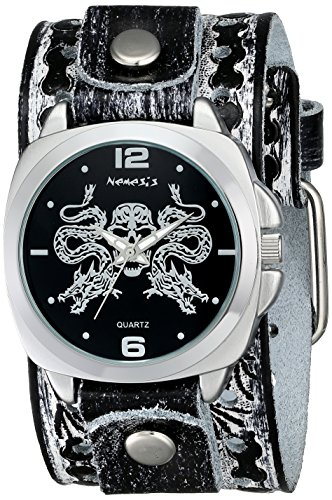 Nemesis Herren SSN910K Punk Rock Collection Black Snake Schaedel Lederband Uhren