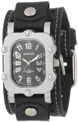 Nemesis Herren STH007K Signature Edelstahl mit schwarzem Zifferblatt Lederarmband Uhr