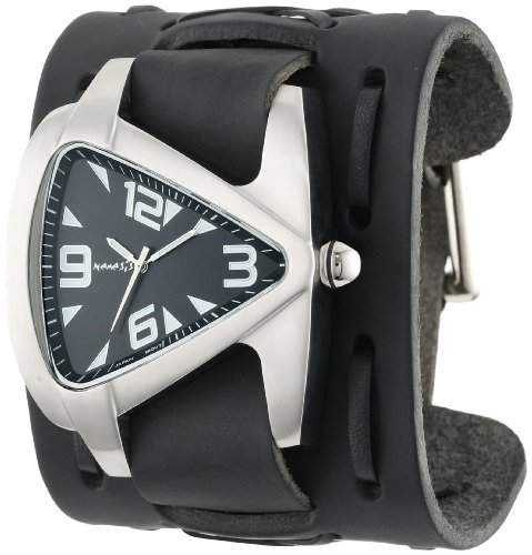 Nemesis Herren WXB011K Signature Edelstahl Teardrop Black Dial Leather Cuff Uhr
