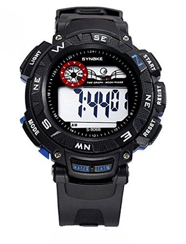 Herren LED Analog Digital Wasserdicht Alarm Kalender Multi Funktion Outdoor Sport Armbanduhr Schwarz Blau