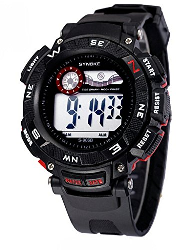 Herren LED Analog Digital Wasserdicht Alarm Kalender Multi Funktion Outdoor Sport Armbanduhr Schwarz Rot