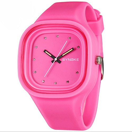 Jungen Maedchen Jelly Colorful Analog Wasserdicht Outdoor Sport Armbanduhr Schueler Uhren Pink