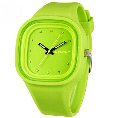 Jungen Maedchen Jelly Colorful Analog Wasserdicht Outdoor Sport Armbanduhr Schueler Uhren Kinder Uhr Gruen